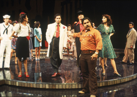 """Luis Valdez (center right) with the cast of the 1978 production of """"Zoot Suit"""" at the Mark Taper Forum. Written and directed by Valdez and presented in association with El Teatro Campesino, """"Zoot Suit"""" will play January 31 through March 12, 2017, as part of Center Theatre Group/Mark Taper Forum's 2017-2018 season at the Los Angeles Music Center. Tickets for the Mark Taper Forum's 50th anniversary season are currently available by season ticket membership only.  For information and to charge season tickets by phone, call the Exclusive Season Ticket Hotline at (213) 972-4444. To purchase season memberships online, visit www.CenterTheatreGroup.org/Taper. Contact: CTGMedia@ctgla.org / (213) 972-7376. Photo by Jay Thompson."""