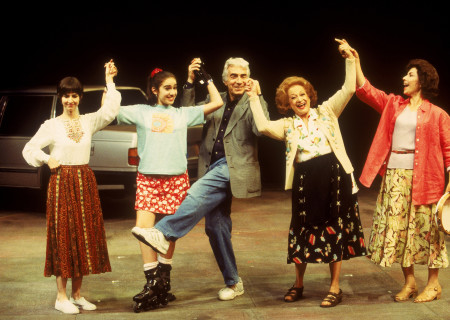 "Gordon Davidson (center) with cast of ""Nine Armenians,"" L-R: Sarah Koskoff, Tiffany Ellen Solano, Magda Harout and Cheryl Giannini in 1997. Photo by Craig Schwartz."