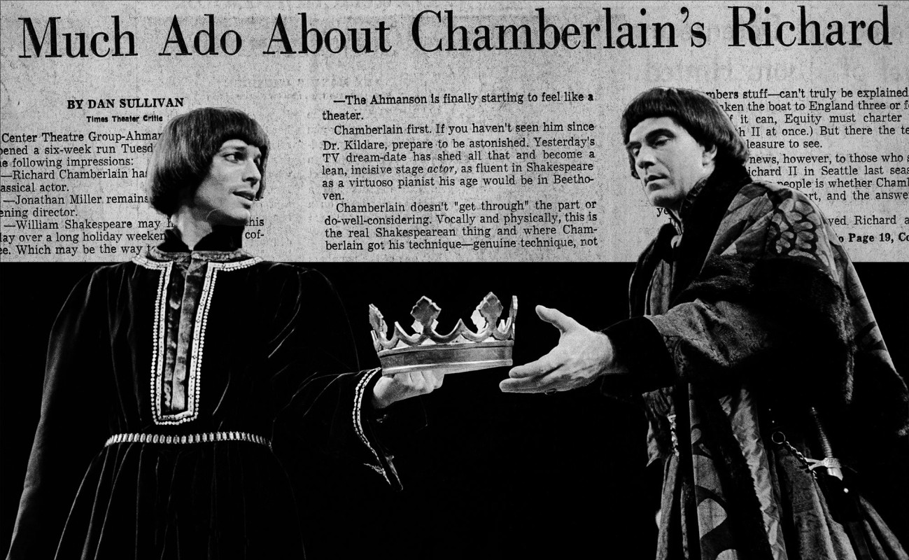 (L–R) Richard Chamberlain and Jack Ryland in Richard II.