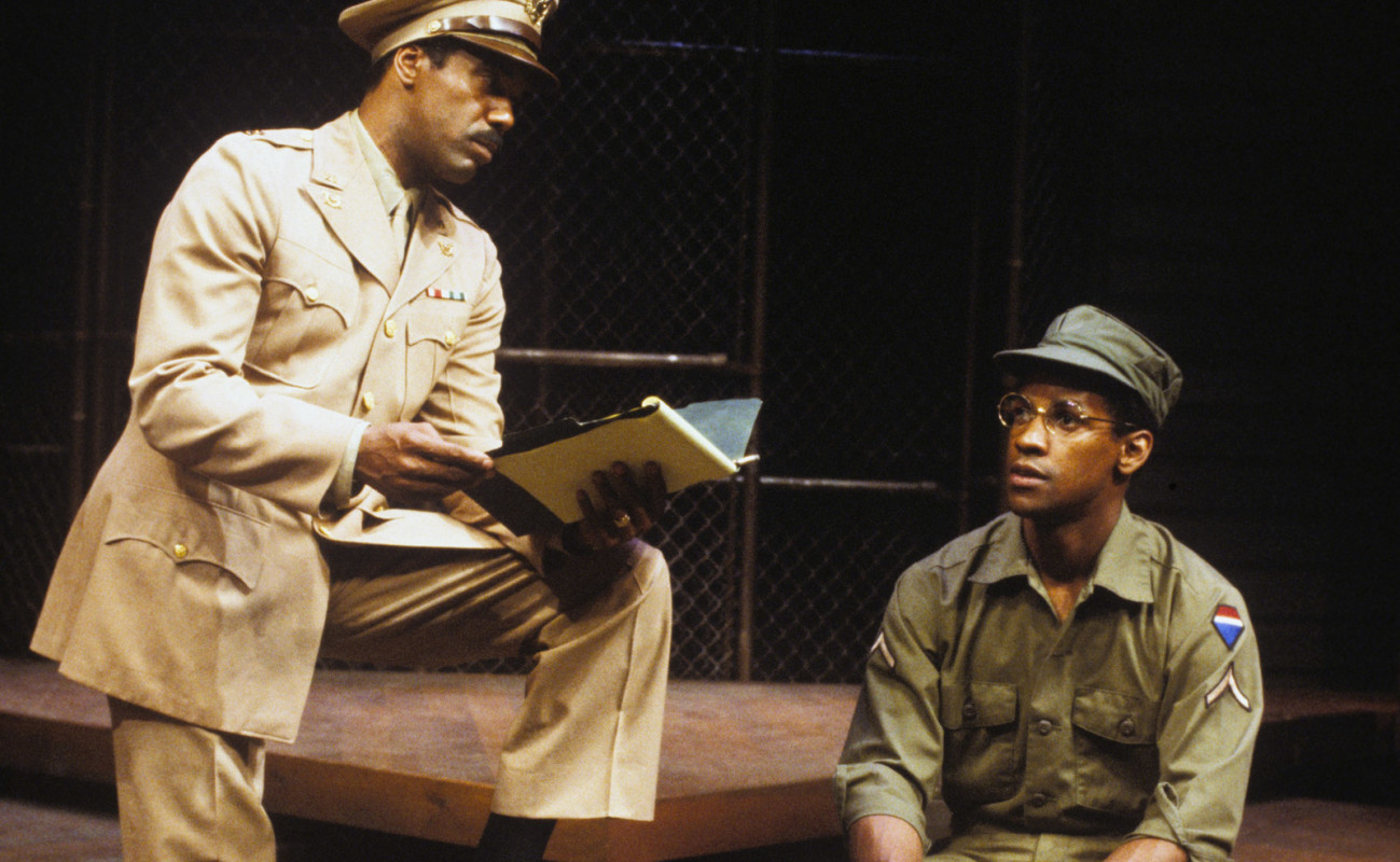 (L–R) Robert Hooks and Denzel Washington in A Soldier's Play.