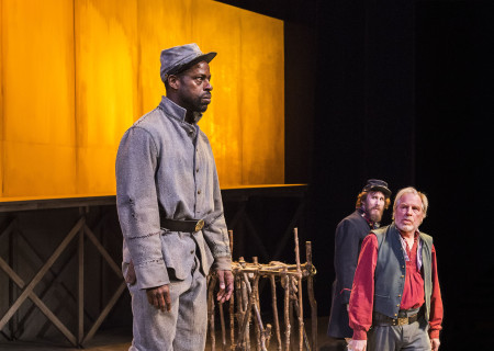 "L-R: Sterling K. Brown, Josh Wingate and Michael McKean in ""Father Comes Home From The Wars (Parts 1, 2 & 3)"" at Center Theatre Group/Mark Taper Forum. Written by Suzan-Lori Parks and directed by Jo Bonney, the West Coast premiere of ""Father Comes Home From The Wars (Parts 1, 2 & 3)"" plays April 5 – May 15, 2016. For tickets and information, please visit CenterTheatreGroup.org or call (213) 628-2772. <br />