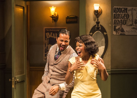 "Jason Dirden and Nija Okoro in August Wilson's ""Ma Rainey's Black Bottom,"" directed by Phylicia Rashad, playing through October 16, 2016, at Center Theatre Group/Mark Taper Forum at the Los Angeles Music Center. For tickets and information, please visit CenterTheatreGroup.org or call (213) 628-2772. Contact: CTGMedia@ctgla.org/ (213) 972-7376. Photo by Craig Schwartz."