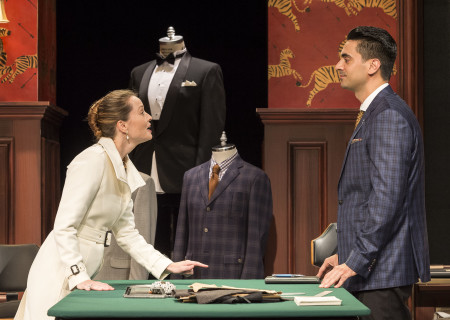 "Samantha Sloyan and Ramiz Monsef in the world premiere of ""Vicuña"" at Center Theatre Group's Kirk Douglas Theatre. Written by Jon Robin Baitz and directed by Robert Egan, ""Vicuña"" runs through November 20, 2016. For tickets and information, please visit CenterTheatreGroup.org or call (213) 628-2772. Contact: CTGMedia@ctgla.org / (213) 972-7376. Photo by Craig Schwartz."