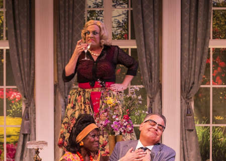 "Clockwise from left: Julanne Chidi Hill, Drew Droege and Pat Towne in the Celebration Theatre production of ""Die, Mommie, Die!"" at the Kirk Douglas Theatre. Center Theatre Group is presenting ""Die, Mommie, Die!"" through May 20 as part of Block Party 2018. For tickets and information, please visit CenterTheatreGroup.org or call (213) 628-2772. Media Contact: CTGMedia@CTGLA.org / (213) 972-7376. Photo by Craig Schwartz."