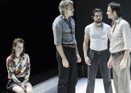 "L-R: Catherine Combs, Dave Register, Alex Esola and Frederick Weller in the Young Vic production of ""A View From the Bridge."" Directed by Ivo van Hove, the production plays through October 16, 2016, at the Center Theatre Group/Ahmanson Theatre. For tickets and information, please visit CenterTheatreGroup.org or call (213) 972-4400. Contact: CTGMedia@ctgla.org/ (213) 972-7376. Photo by Jan Versweyveld."
