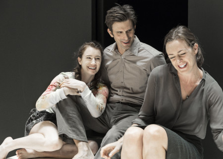 "L-R: Catherine Combs, Frederick Weller and Andrus Nichols in the Young Vic production of ""A View From the Bridge."" Directed by Ivo van Hove, the production plays through October 16, 2016, at the Center Theatre Group/Ahmanson Theatre. For tickets and information, please visit CenterTheatreGroup.org or call (213) 972-4400. Contact: CTGMedia@ctgla.org/ (213) 972-7376. Photo by Jan Versweyveld."