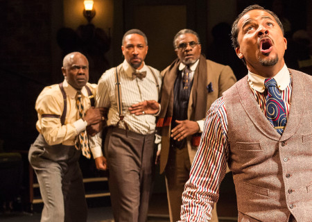 "(L-R) Glynn Turman, Damon Gupton, Keith David, and Jason Dirden in August Wilson's ""Ma Rainey's Black Bottom"" at the Mark Taper Forum."