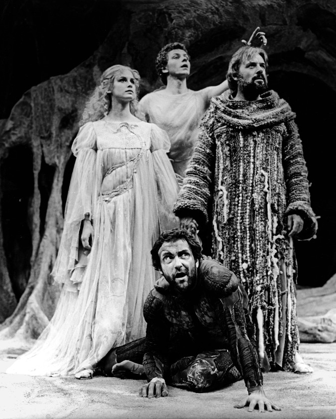 Stephanie Zimbalist, Brent Carver, Anthony Hopkins, and Michael Bond in The Tempest