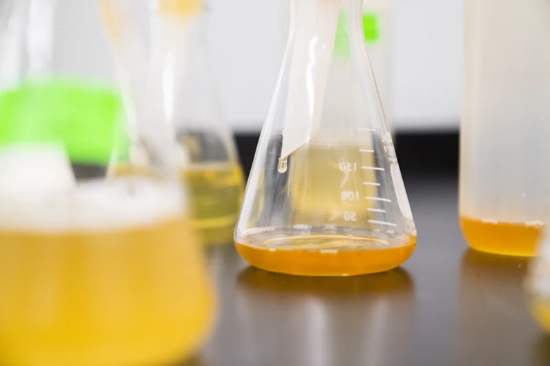 An assortment of glass and plastic laboratory containers with a yellow, translucent liquid inside.