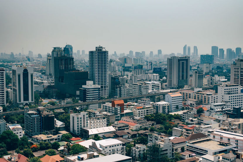 The skyline of Bangkok, capital of Thailand