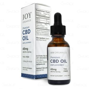 A bottle of Joy Unflavored Premium Hemp Oil, with 1350mg CBD