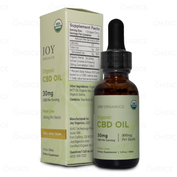 Joy Organics Fresh Lime Organic CBD Oil, 900mg
