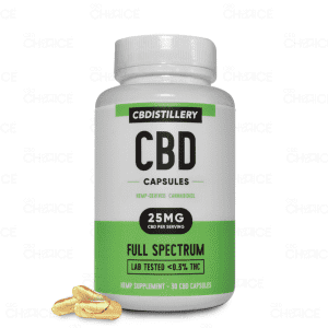 CBDistillery's Full Spectrum Capsules in a green and white bottle
