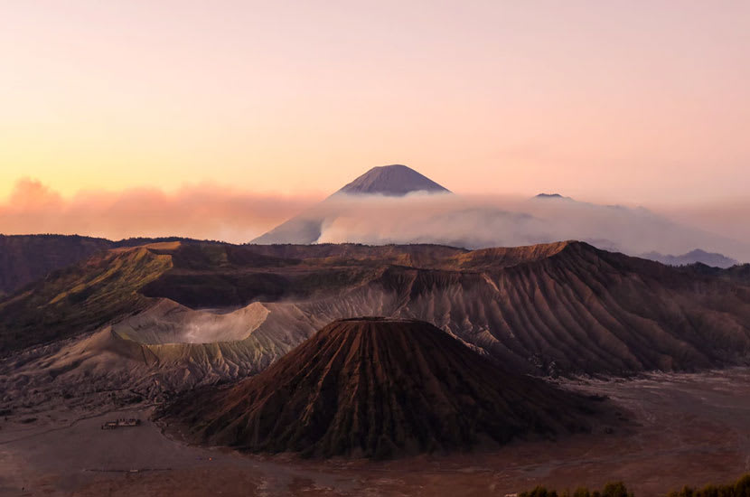 A chain of Indonesian volcanic mountains