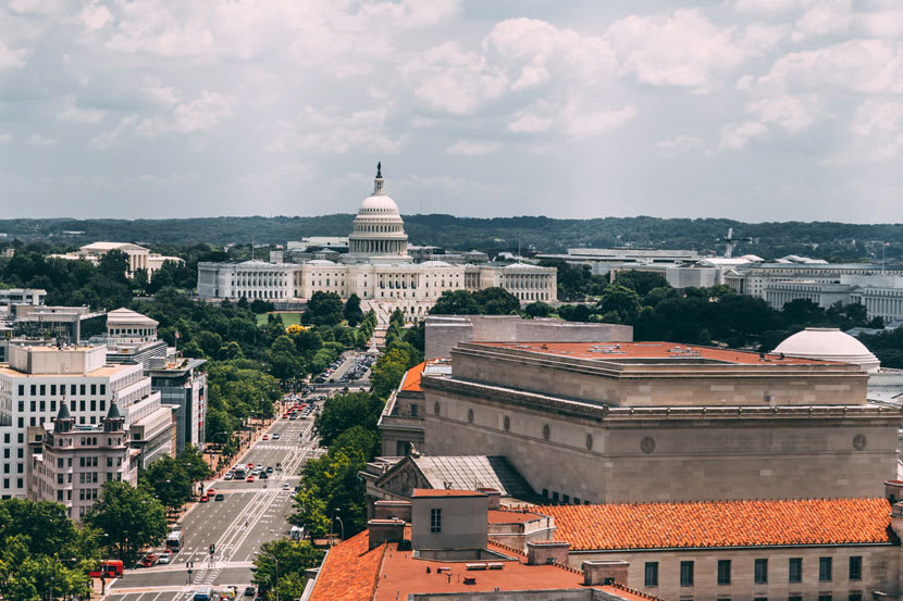 A US government building in the distance