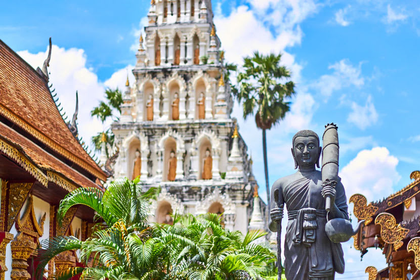 A Thai temple and statues