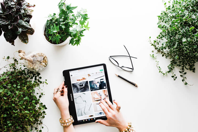 A person using a tablet surrounded by green plants