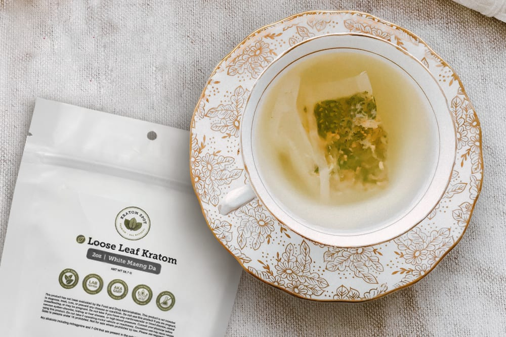 A cup of kratom tea using kratom tea bags