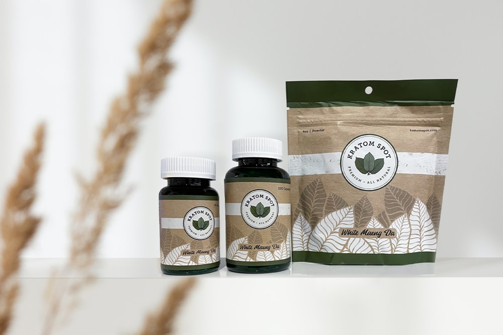 A lineup of white maeng da kratom products.