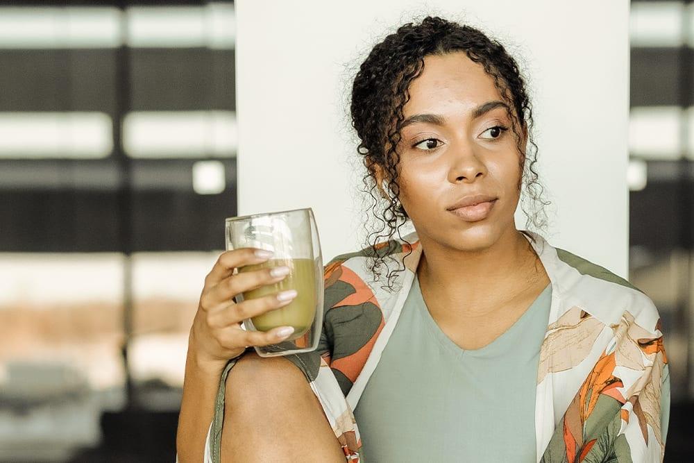 Kratom Demographics showing a woman drinking kratom tea