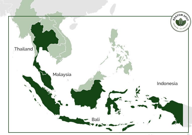 A map showing the areas of Southeast Asia we get premium Kratom from