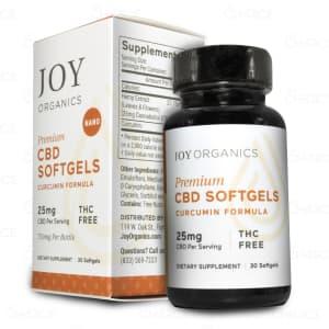A bottle of Joy Curcumin CBD Capsules, with 750mg CBD