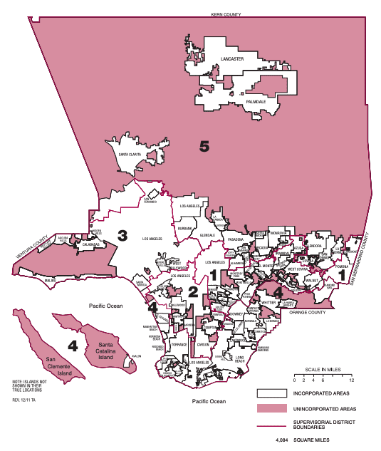 A map showing which areas of LA County are considered unincorporated territory.