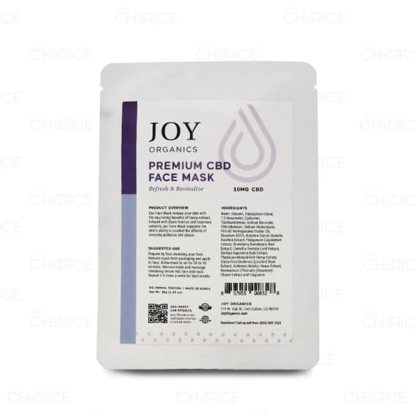 Joy Organics Premium CBD Face Mask, 10mg