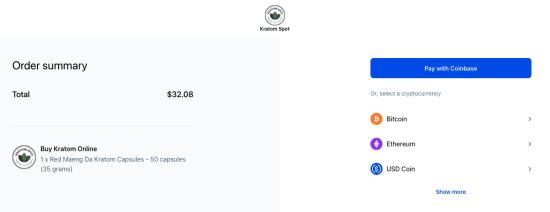Coinbase checkout screen 2 at Kratom Spot