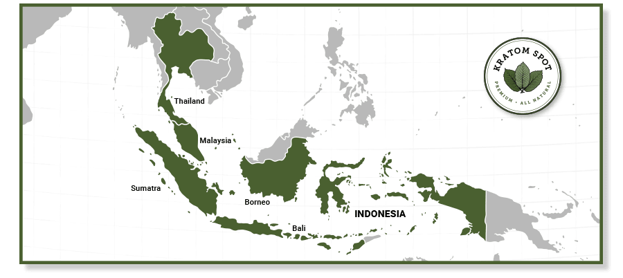 A map of Southeast Asia with Thailand, Malaysia, and Indonesia highlighted