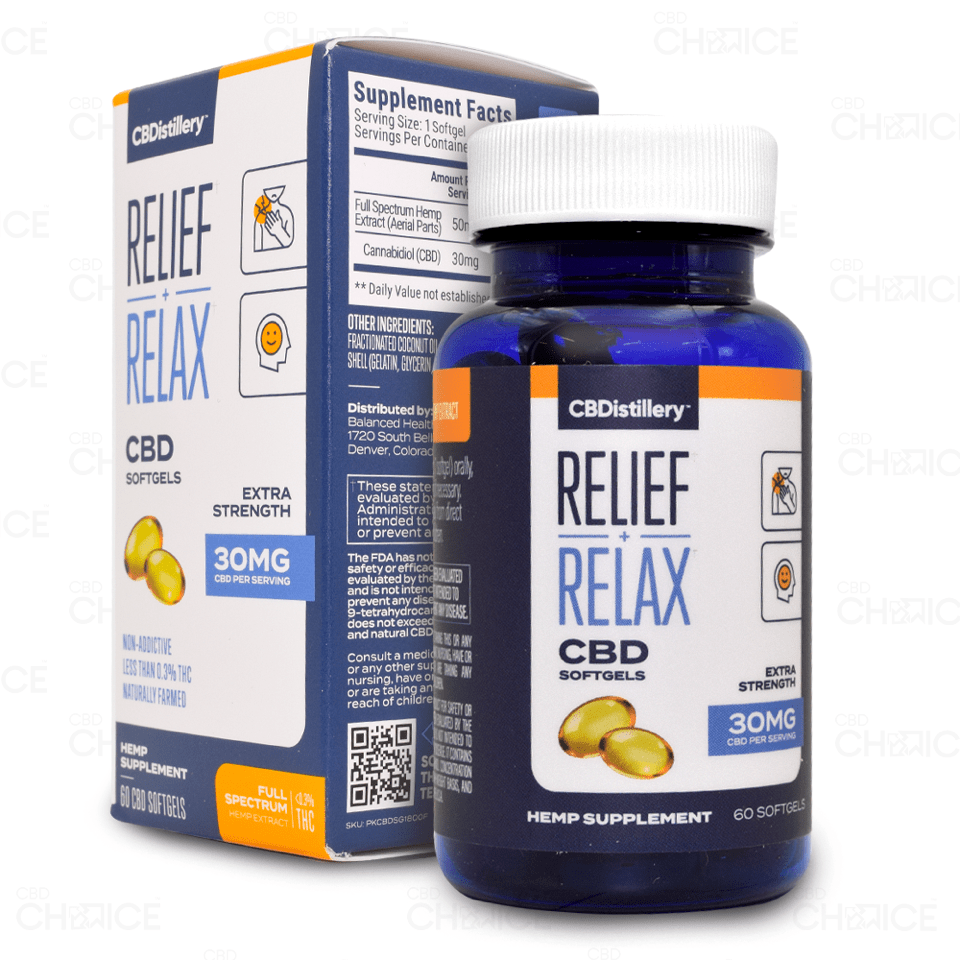 CBDistillery Relief and Relax Capsules, 60 count