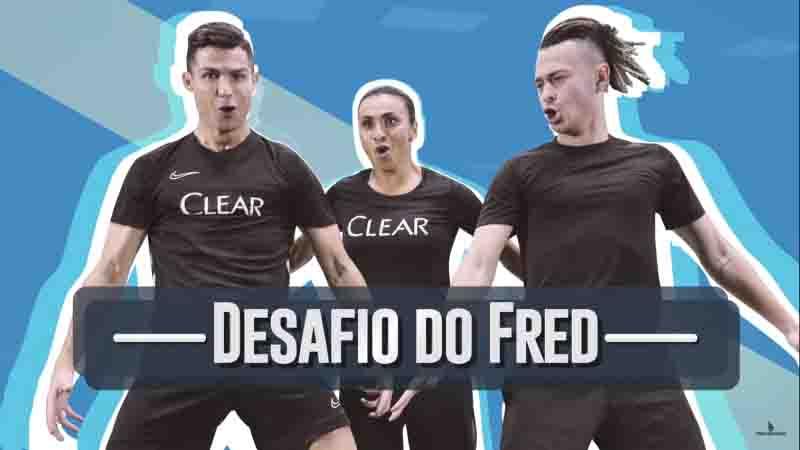 Fred, dos Desimpedidos, em ação com Cristiano Ronaldo e Marta