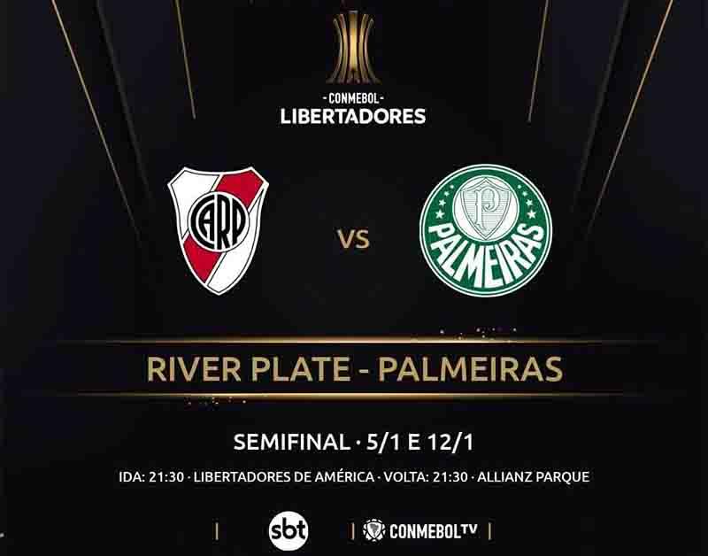 Conmebol anuncia em seu perfil no Twitter as datas, horário e emissoras que transmitirão o duelo River Plate x Palmeiras na semifinal da Libertadores