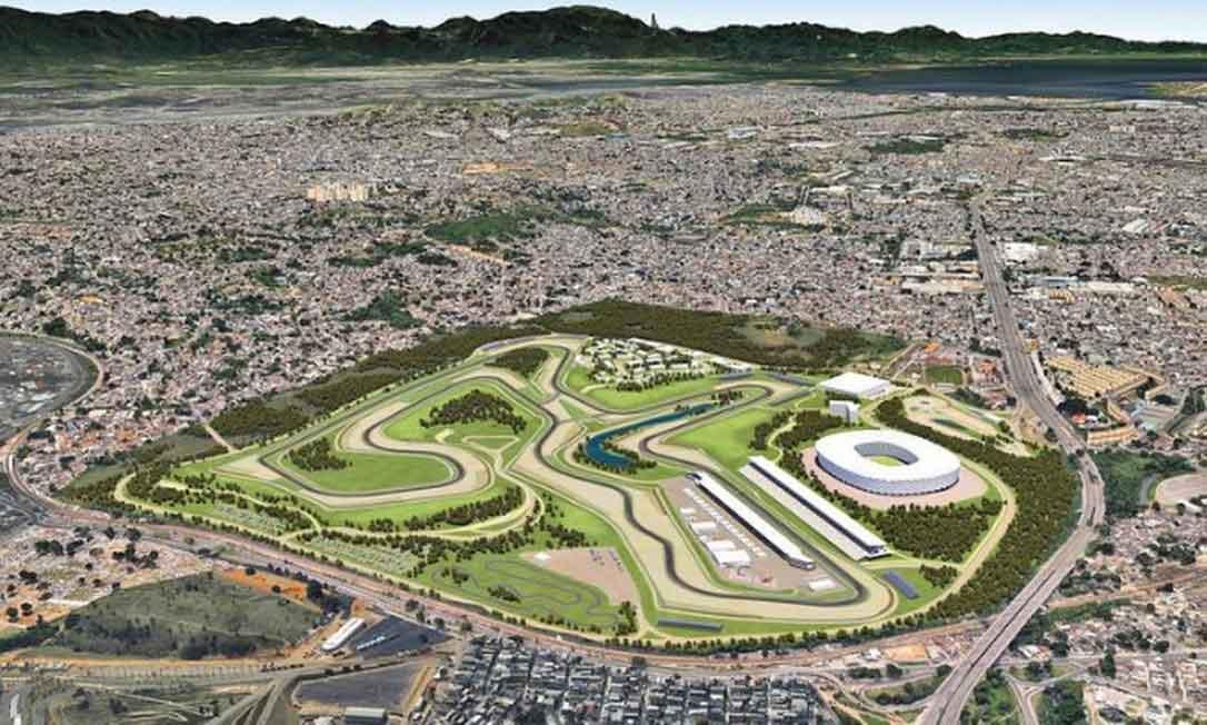 Maquete com o projeto do autódromo de Deodoro, no Rio de Janeiro, que não vai sair do papel