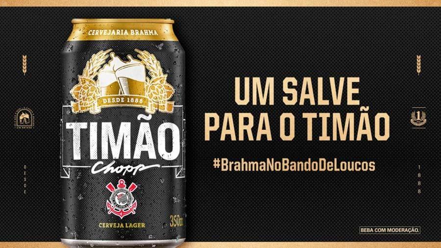 Arte feita pela Brahma para anunciar o retorno do patrocínio ao Corinthians, que envolverá as mídias digitais do clube