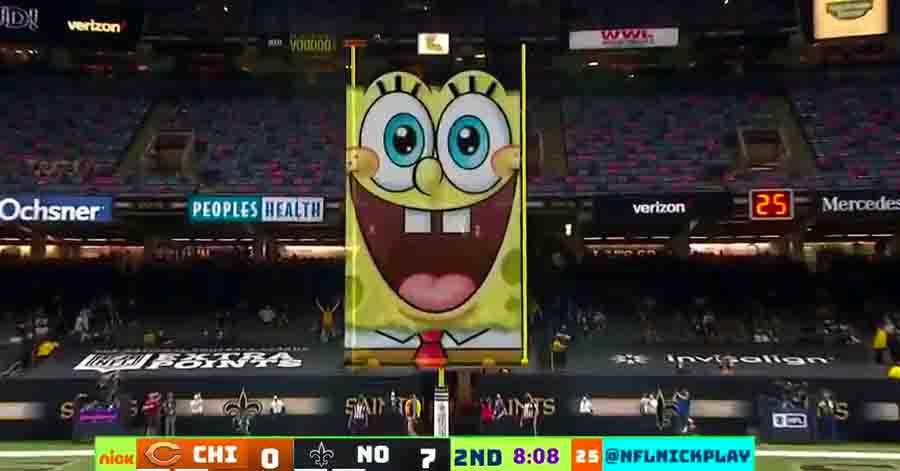 Nickelodeon atraiu 2 milhões de espectadores com a partida entre New Orleans Saints e Chicago Bears