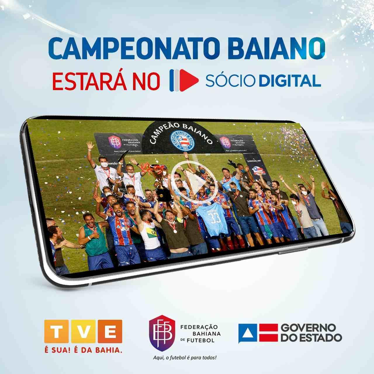 Anúncio da transmissão dos jogos do Bahia no Estadual a partir do aplicativo Sócio Digital