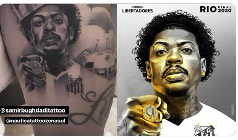 Anel de melhor jogador da Libertadores dado pela Bridgestone a Marinho virou tatuagem na pele do jogador do Santos