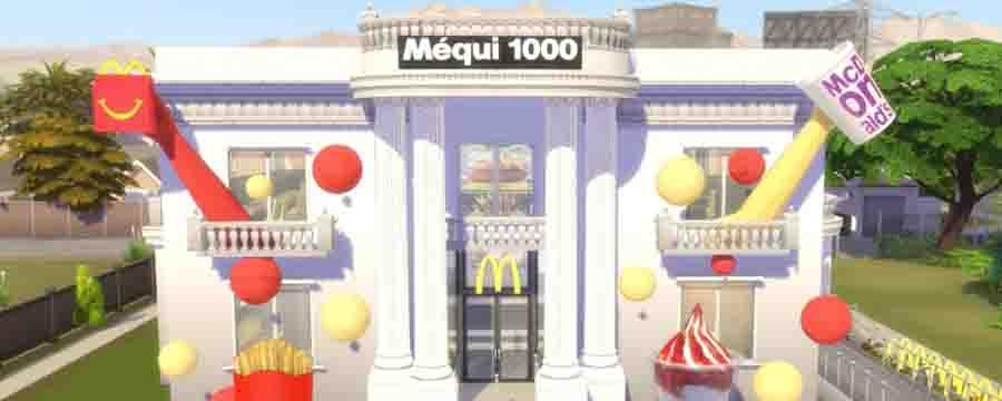 Loja do McDonald's dentro do The Sims 4.