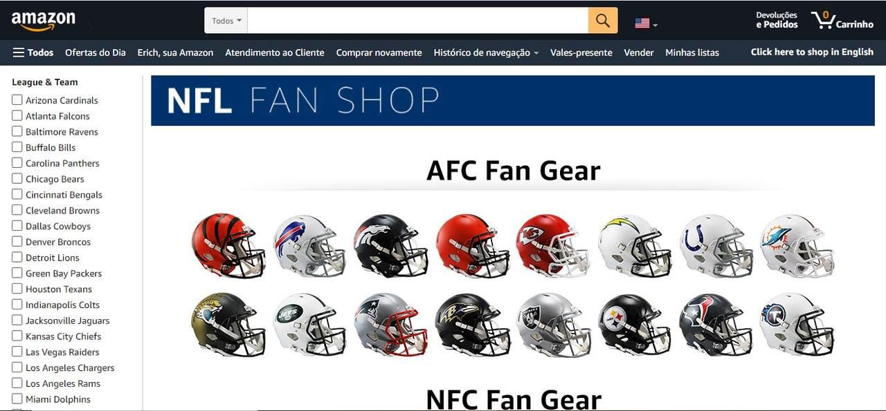 NFL terá espaço exclusivo dentro de lojas da Amazon, tanto físicas quanto virtual