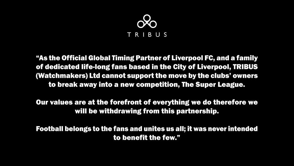 Em seu perfil, a marca de relógios Tribus anunciou o fim da parceria com o Liverpool