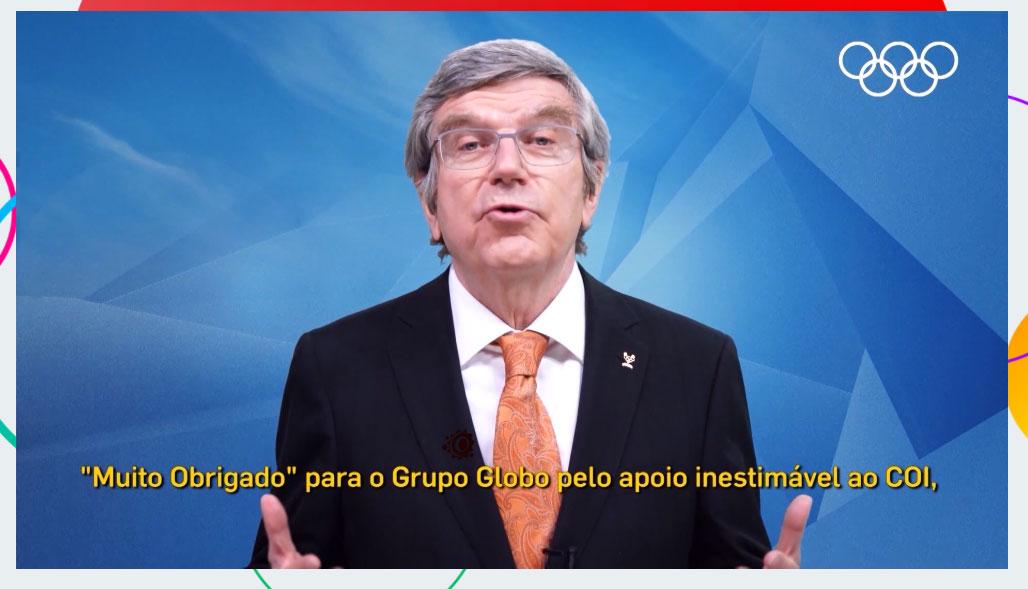 Thomas Bach, presidente do COI, durante apresentação comercial da Globo para as Olimpíadas de Tóquio
