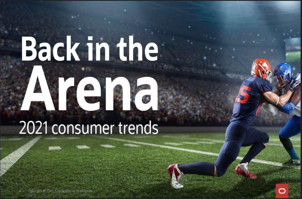 """Capa do estudo """"Volta às Arenas"""", lançado pela Oracle após pesquisa com 3 mil torcedores de diferentes países"""