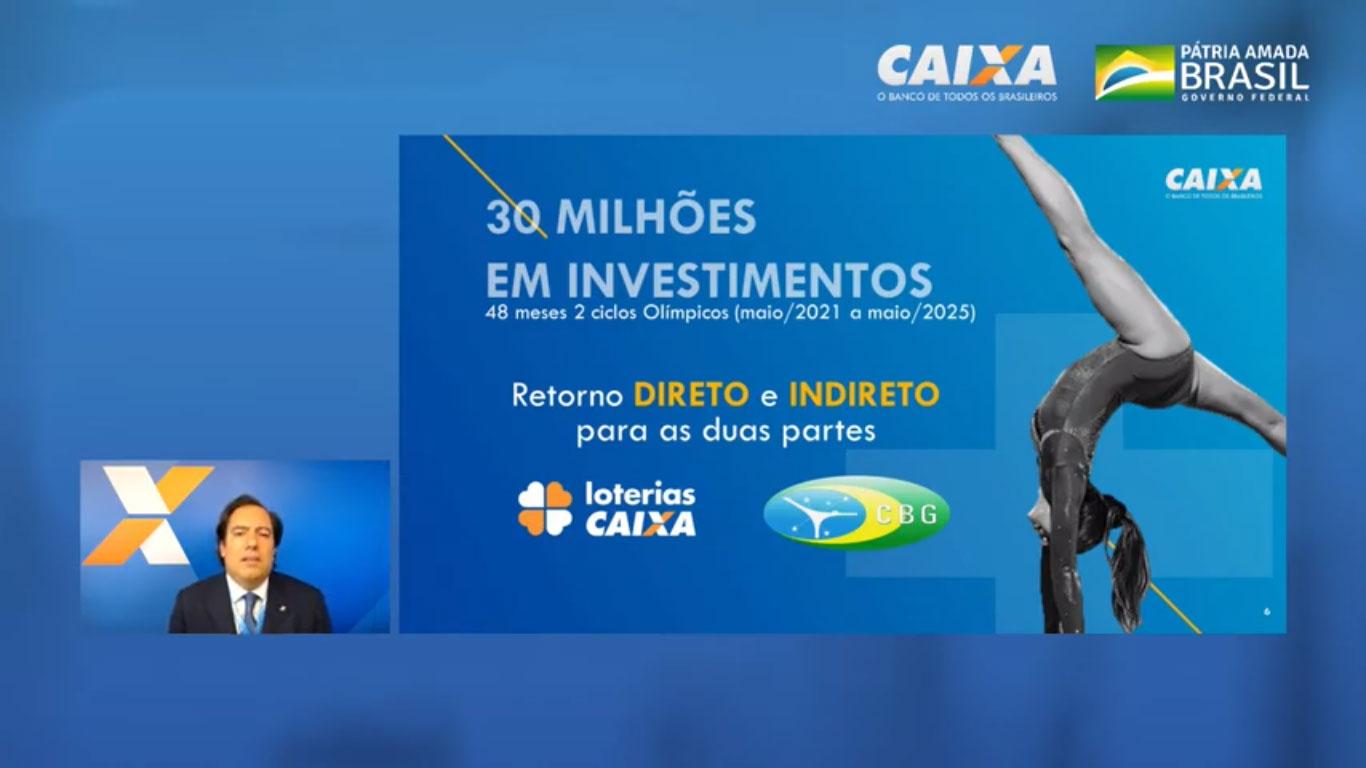 Pedro Guimarães, presidente da Caixa, apresenta números do patrocínio à CBG para o próximo ciclo olímpico