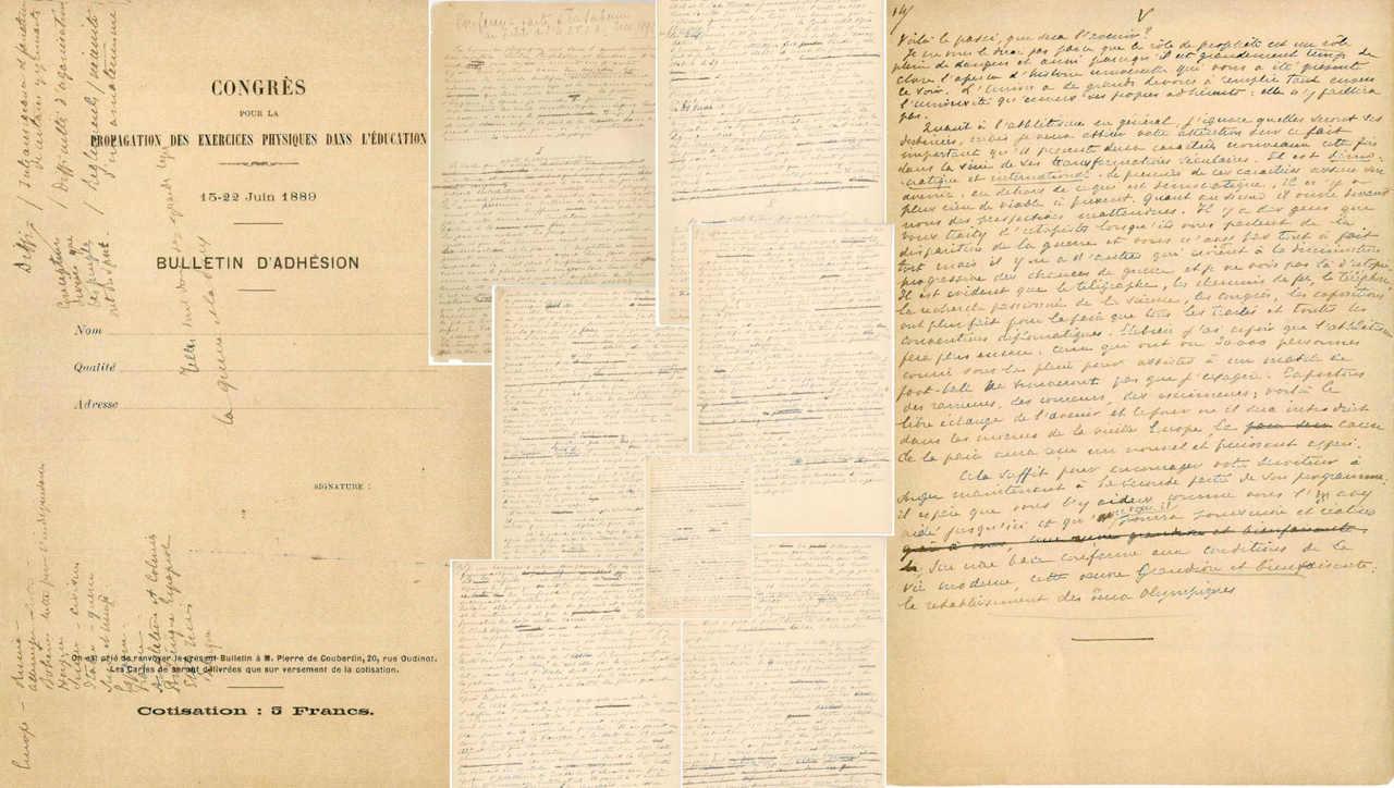 """Manuscrito de Pierre de Coubertin apresentado na Universidade de Sorbonne (Paris) é a """"pedra fundamental"""" dos Jogos Olímpicos"""