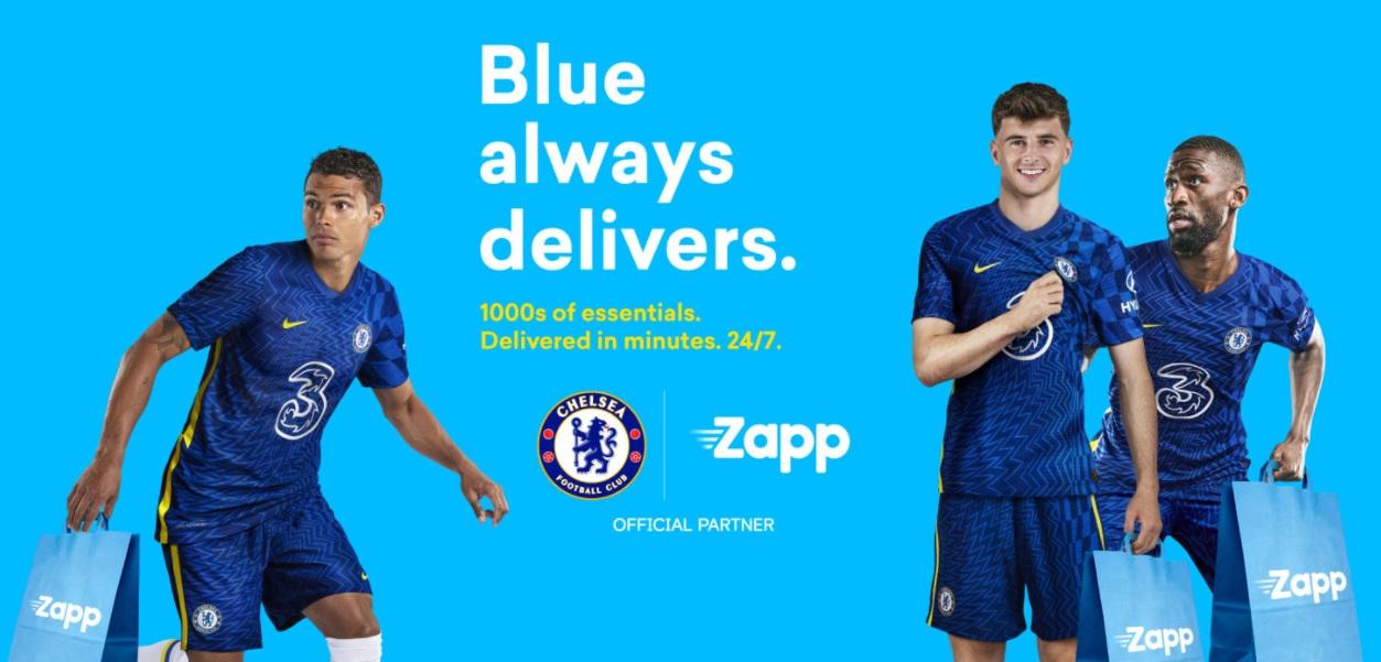 Chelsea fecha patrocínio com startup de entrega rápida de alimentos Zapp
