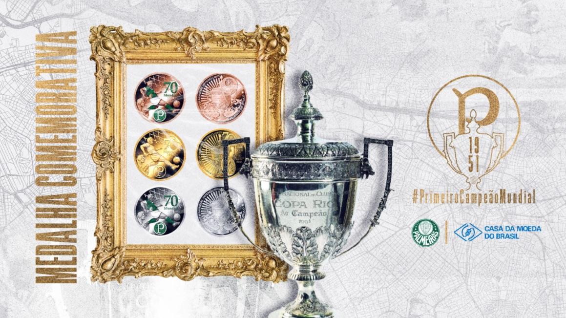 Título do Palmeiras em 1951 ganha medalhas históricas da Casa da Moeda