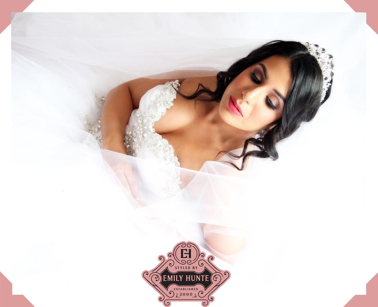 pretty brunette bride bridal wedding hair styled by emily hunte
