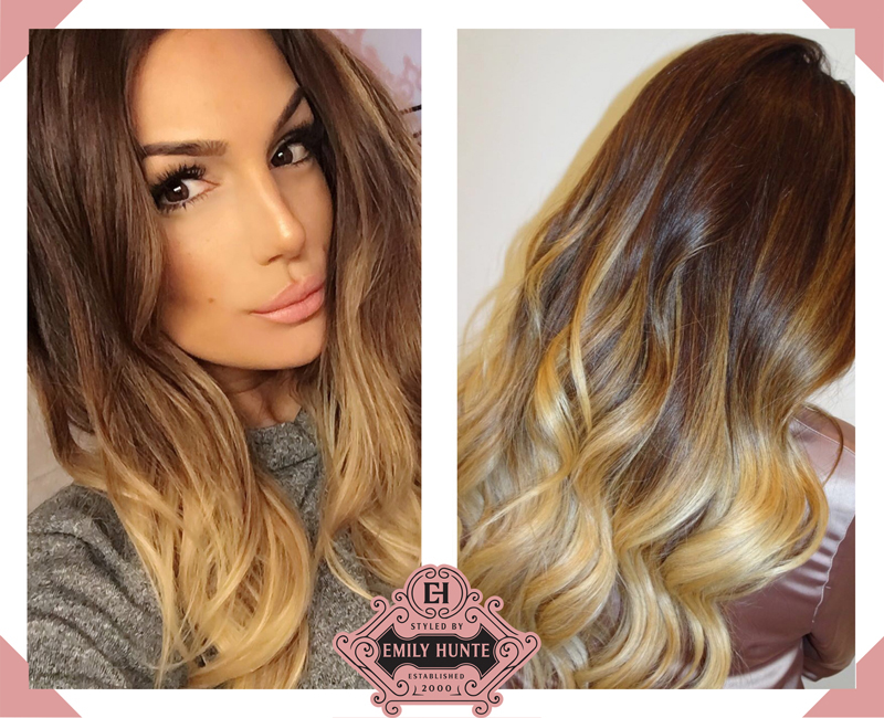Balayage before and after photo of a client by mobile hairdresser Emily Hunte