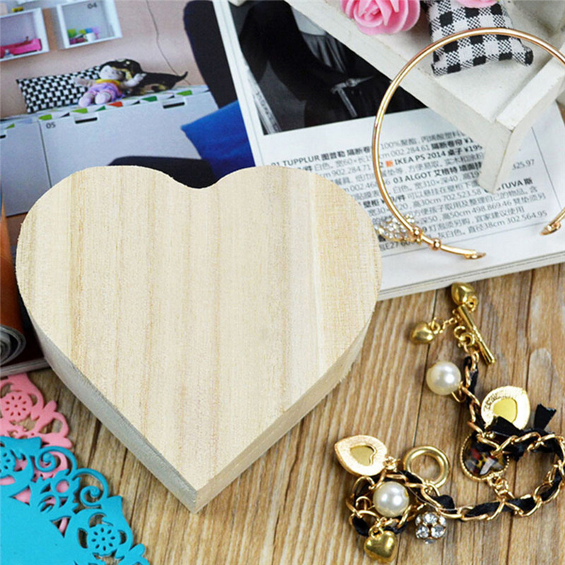 Heart-shaped Wooden Jewelry Box